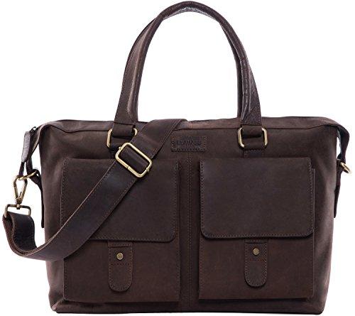 LEABAGS Glasgow Handtasche aus echtem Büffel-Leder im Vintage Look (Muskat)