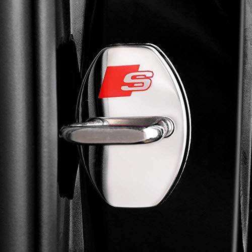 XCBW 4 STÜCKE Edelstahl Türschlossabdeckung Sturmabdeckung, für A-UDI A6L / A4L / A3 / A7 / A5 / Q3 / Q5L / Q7 / Q2L, Auto Protection Zubehör,Silber