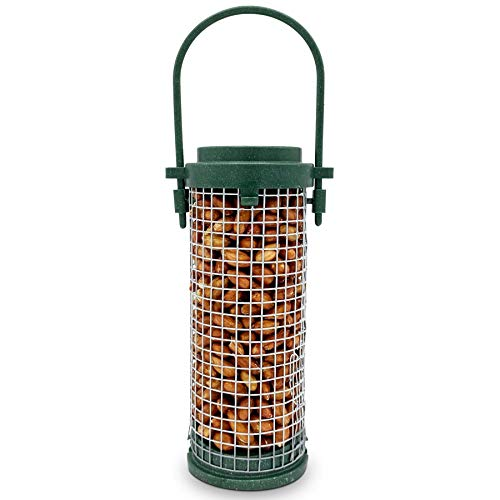 Eco Friendly Bird Feeder with Peanuts Included - Recycled Plastic Hanging Feeders for Garden Birds - Attracting Tits, Finches, Robins & many more Wild Birds