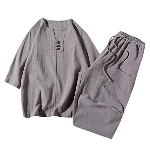 F_Gotal Men's Two Pieces Linen Cotton Outfits Sets Print Short Sleeve Long Pants Tracksuit Casual Pajamas Set Plus Size