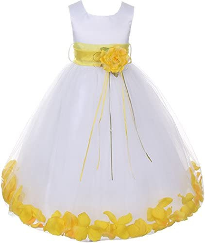 Lilttle Baby Girls Sleeveless Satin Flower Petal Sash Infant Flower Girl Dress White Yellow product image