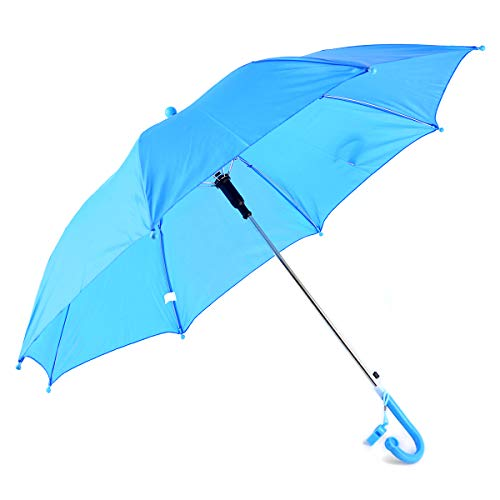 BG Children's Kid's Solid Color Auto Open Lightweight Umbrella with Novelty Whistle (Blue)