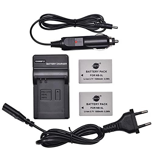 DSTE(2 unidades) Batería de repuesto NB-5L + DC22E cargador de viaje compatible con Canon PowerShot S100, S110, SD700 is, SD870 is, SD880 is, SD890 is, SD900 is, SD950 is, SD970 is, SX230 HS