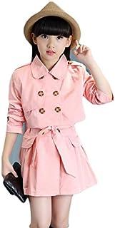 garce ロング袖スカート 女の子の長袖ドレス ガールズ 可愛い コート + スカート セット