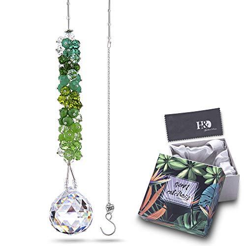 H&D HYALINE & DORA Kristall Regenbogen Sonnenfänger Grüner Kaskadenanhänger Hängendes Glaskugelprisma für Fenster