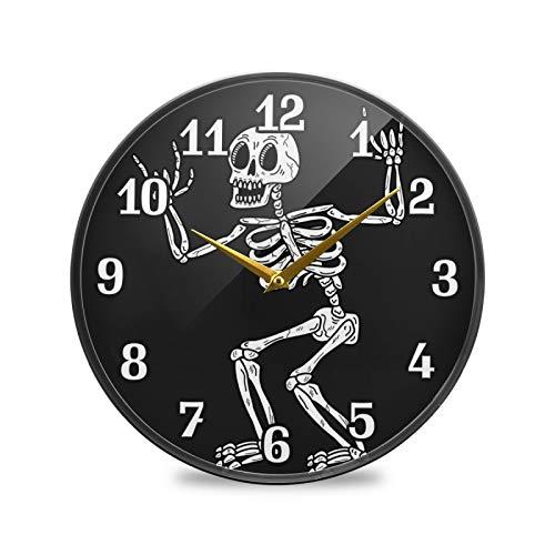 TropicalLife BGIFT Reloj de pared redondo con diseño de calavera de Halloween de 30,5 cm, silencioso, funciona con pilas, silencioso, fácil de leer, para decoración de dormitorio, sala de estar, coci