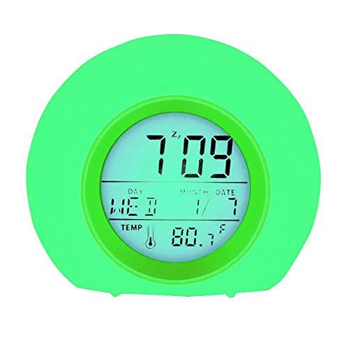 YUES Reloj Despertador Digital para niños con Calendario y termómetro,7 Colores Cambio de luz con Control táctil Junto a la Cama (Verde)