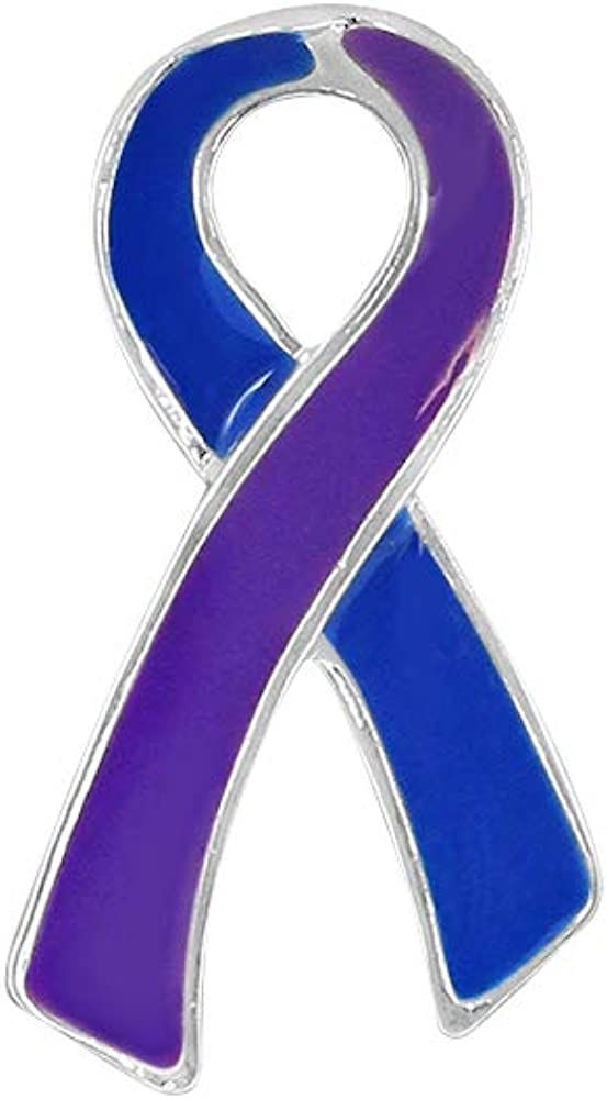 Flat Blue Purple Ribbon Lapel Pack Pins 50 Deluxe - Wholesale Spring new work