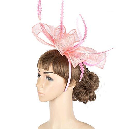 Wenzhihua Fascinator Chapeau Chapeau Derby en Tissu de Maille de Fleur de Chapeau sur la Bande de Cheveux des Femmes Chapeaux de Mariage pour Les Femmes (Couleur : Bleu)