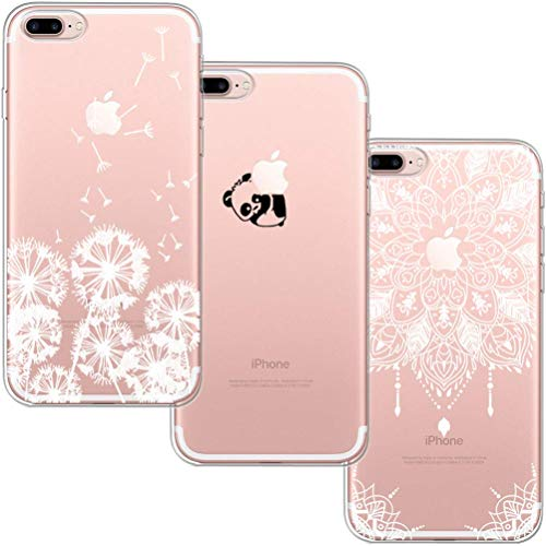 blossom01 [3 Stück] iPhone 7 Plus Hülle, iPhone 8 Plus Hülle, Cute Funny Kreative Cartoon Transparent Silikon Bumper für iPhone 7 Plus / 8 Plus - Löwenzahn & Panda & Mandala