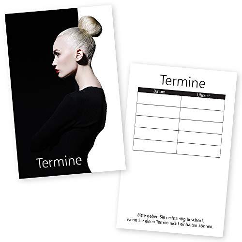 500 Friseur- und Beauty-Terminkarten STYLING BLACK & WHITE für Kosmetikstudio, Wimpern, Nagelstudio mit 5 Terminfeldern