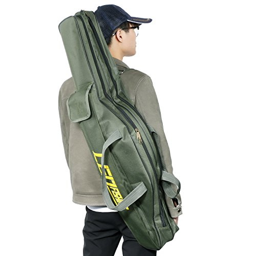 xuanchen 釣竿ケース ロッドケース折畳 持ち運び便利 ポータブル 釣りロッド 釣り竿 フィッシングバッグ タックルバッグ 肩掛け 大容量 竿袋 釣り竿入れ 収納 1M