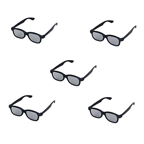 Generic 5 Pairs Passive Circular Polarized Lens 3D Glasses for DVD Movie Game TV Monitor,Black