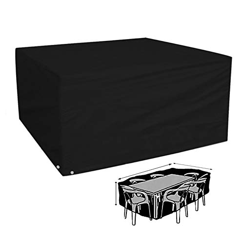 YYQIANG Black Table and Chair Furniture Cover, Rectangular Protective Covers for Garden Patio Sofa, Waterproof Breathable and Anti-UV Covers (Size : 180 * 120 * 74CM)