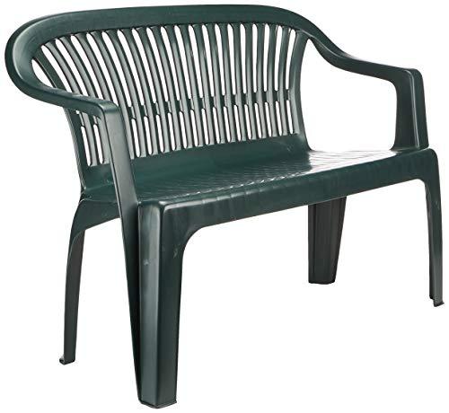 Progarden 47100 Bank Diva, 2-sitzig, 55 x 120 x 88 cm, Vollkunststoffgestell, dunkelgrün