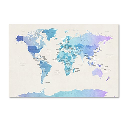 Watercolour Political Map of The World by Michael Tompsett, 16x24-Inch Canvas Wall Art