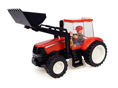 Universal Hobbies–uhk1204–Tractor en Ladrillos–Case con Cargador y fermier–70Piezas