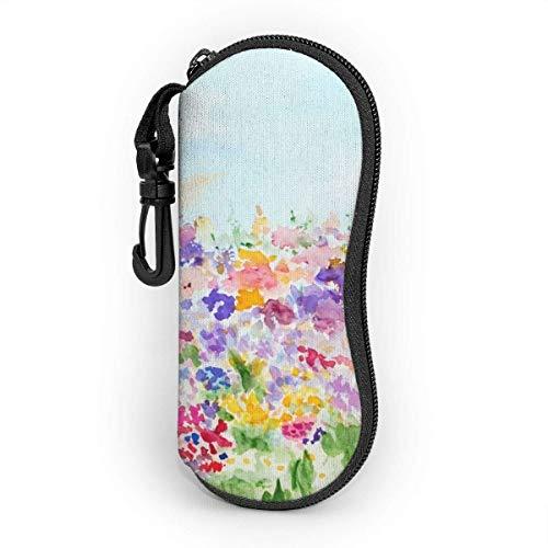 IUBBKI Estuche blando para gafas de sol Estuche para anteojos con cremallera de neopreno ultraligero con clip para cinturón, jardín con césped y flores