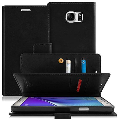 Schutzhülle für Samsung Galaxy Note 5, mit Fallschutz, hochwertiges Kunstleder, mit Kreditkartenfächern & Geldfach, für Samsung Galaxy Note 5, MANSOOR Black