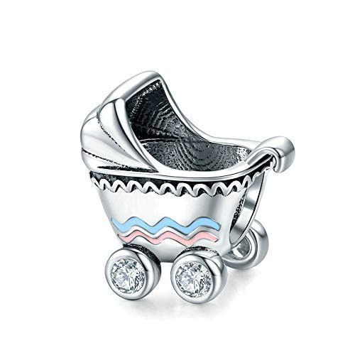Babay Carriage Charm 925 Sterling Silver Milk Bottle Charm Love Charm Birthday Charm for Pandora Charm Bracelet (Bbay Carriage)