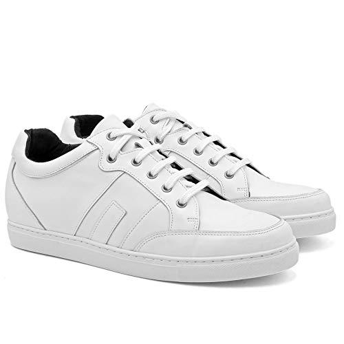 Zapatos de Hombre con Alzas Que Aumentan Altura hasta 7 cm. Fabricados en Piel. Modelo Ibiza B Blanco 41
