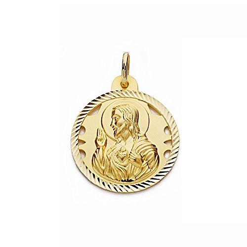 Medalla Oro 18K Escapulario 26mm Virgen Carmen Corazón Jesús [Aa2478]