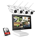 ANNKE 4CH 1080P FHD WiFi CCTV Camera System with 10.1'' LCD Monitor, Support 5MP Wireless IP Camera, Audio Recording, 4pcs Outdoor IP Cameras,IR Night Vision, Plug & Play, 1TB HDD