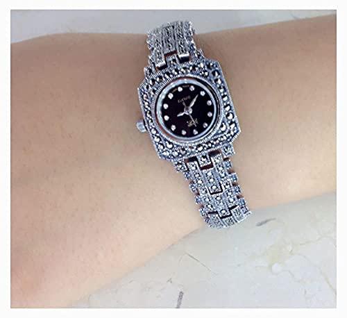 CDPC Reloj de Pulsera para Mujer Reloj de Negocios Elegante Vintage Reloj de Pulsera de Cuatro Estaciones para Mujer Reloj de Pulsera de Plata de Ley 925