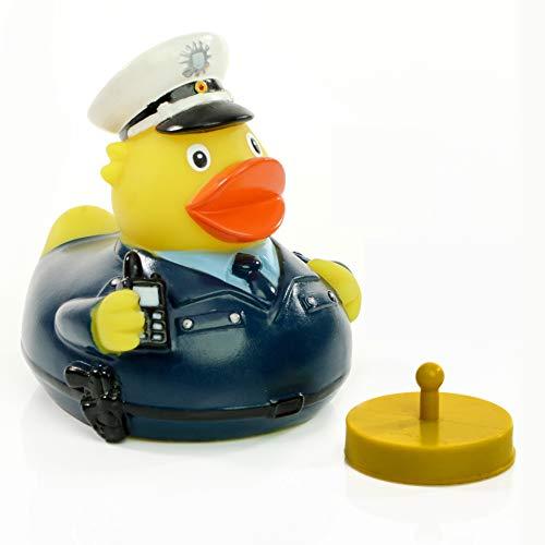 Schnabels Badeente Polizei inkl. Renngewicht - Geschenk für Polizist Polizistin Beamte Police - lustig originell Glücksbringer - Spielzeug Quietsche-Ente Deko-Artikel Badewanne