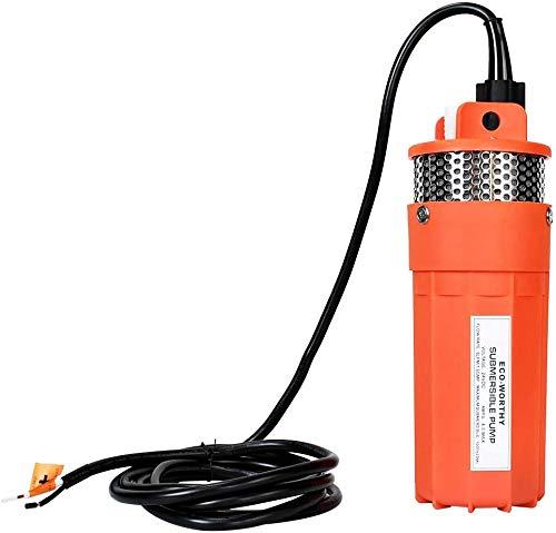 DCHOUSE Bomba sumergible Bomba de agua de alta eficiencia, Bomba de agua de 24V con energía solar, Elevación alta 230 pies, Flujo máximo 6 LPM,Bomba de pozo para ganado y riego
