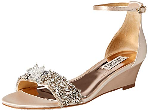 Badgley Mischka Women's Fiery Wedge Sandal, Soft Nude, 7 M US