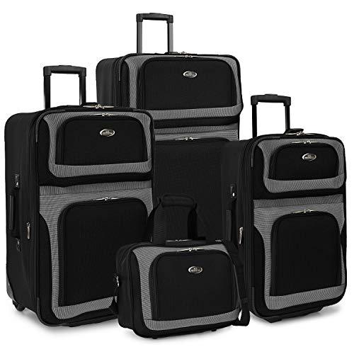U.S. Traveler New Yorker Lightweight Softside Expandable Travel Rolling Luggage Set, Black/Grey, 4-Piece (15/21/25/29)