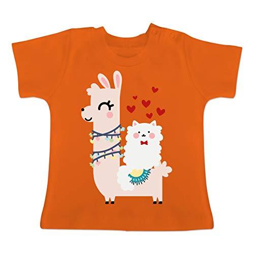 Valentinstag Baby - Lama und Katze mit Herzen - 1/3 Monate - Orange - BZ02 - Baby T-Shirt Kurzarm