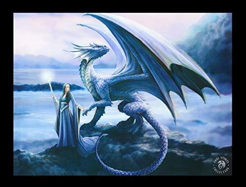 Unbekannt Fantasy 3D Bild mit blauem Drachen - New Horizon | Kunstdruck by Anne Stokes