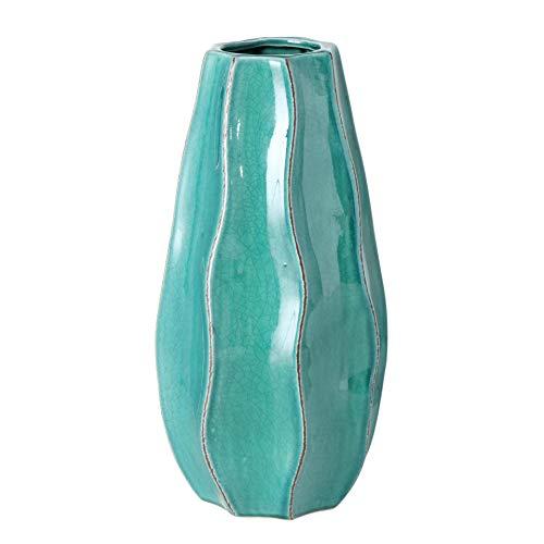 CasaJame Casa Arredamento Decorazione Interni Design Accessori Soprammobile Vaso con Superficie Ondulata Terracotta Azzurra Altezza 25cm Ø12cm
