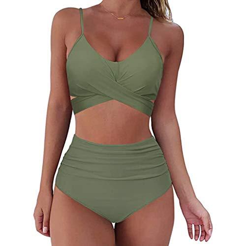 Corlidea Bikini para mujer de cintura alta, push-up, sexy, cuello en V, parte superior de bikini, dos piezas, moda para vacaciones en la playa, bañador, ropa de playa, verde militar, medium