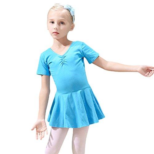 Ketamy Mädchen Kinder Kurzarm Tanzkleid Ballettkleid Trikotanzug Ballett Gymnastik Dancewear Blau 150