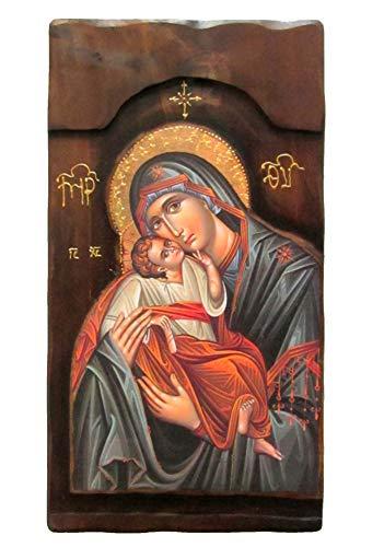 IconsGr Holz griechische christliche Orthodoxe Holz-Ikone Jungfrau Maria K4-1