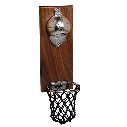 Ouvre-bouteille de basket-ball, receveur de collecteur de capuchon, gadget de cuisine de pâte de réfrigérateur magnétique à montage mural, pour les amateurs de bière cadeau de pendaison de crémaillère