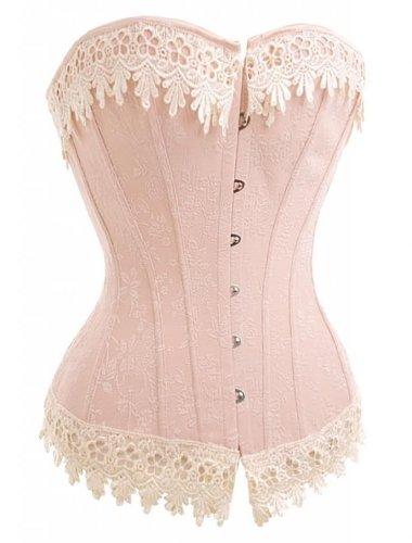 Alivila.Y Fashion Womens Sexy Vintage 1920s Renaissance Lace Trim Corset Bustier 2606-Pink-2XL