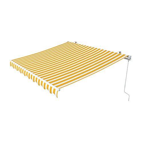 paramondo Gelenkarmmarkise Easy Balkonmarkise Sonnenschutz Terrasse, Kurbelbedienung, 3,95 x 2,5 m (Breite x Ausfall), Blockstreifen Gelb-Weiß