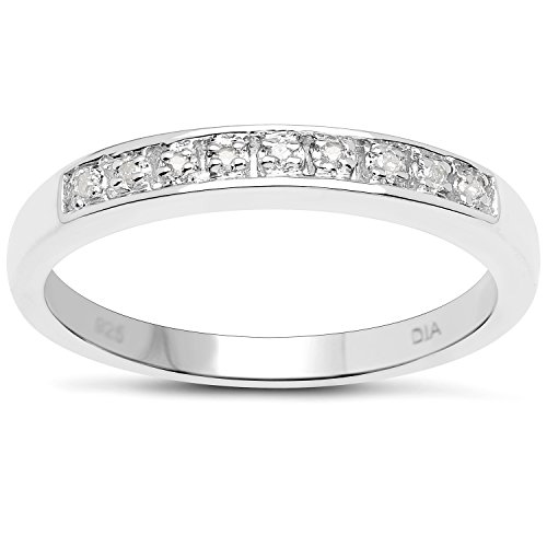 The Diamond Ring Collection: 3mm wide Sterling Silver Channel set Diamond Eternity Ring (Size M)