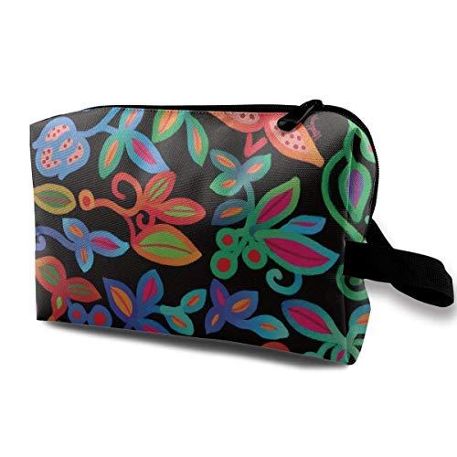 zjipeung Folk Art Deco_Multicolor_91 Borsa da Toilette Borsa per Cosmetici Borsa per Trucco Portatile Borsa per Organizer da Appendere da Viaggio per Donna Ragazza 10x5x6,2 Pollici