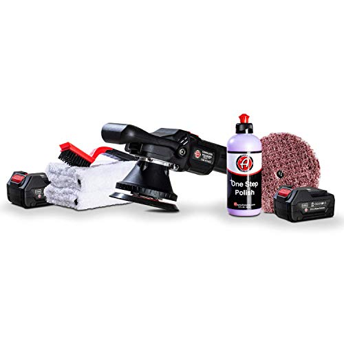 Adams Cordless Polisher Swirl Killer 15mm - Powerful Battery Powered Portable Orbital Polisher - Compound Polish Car Scratch Remover - Post Clay Bar & Before Ceramic Coating or Wax (One Step Kit)