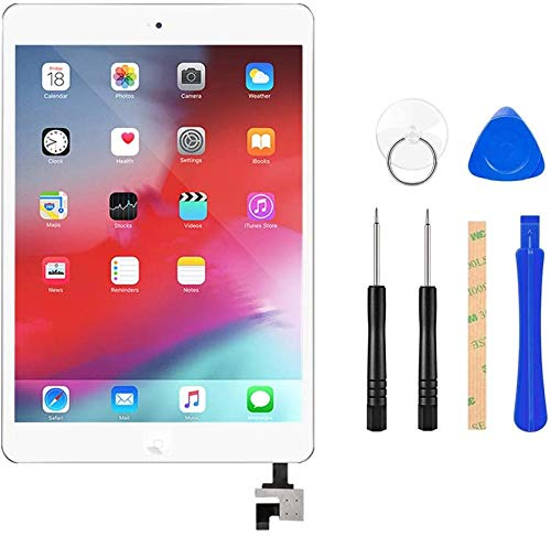Flylinktech iPad iPad air/iPad5 タッチパネル 品番A1474 A1475に適用 液晶パネル フロントパネル iPadガラス割れ修理交換用 修理ツールつき (iPad 5, ホワイト)
