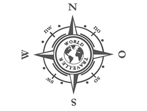 Generic Kompass in 20x20cm oder 30x30cm Aufkleber Windrose Aufkleber Wohnmobil und Auto Aufkleber (185) (30x30cm, schwarz Glanz)