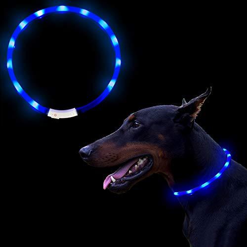OIZEN LED Leuchthalsband Hunde Halsband USB wiederaufladbar - Längenverstellbarer Haustier Sicherheit Kragen für Hunde und Katzen, 3 Modus