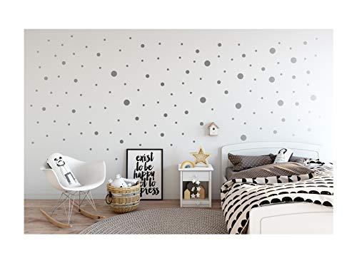 StickerDeen | Pegatinas de vinilo para decoración de pared, ventana, muebles, diseño de lunares, tamaño mixto, extraíble, 80 unidades, color plateado