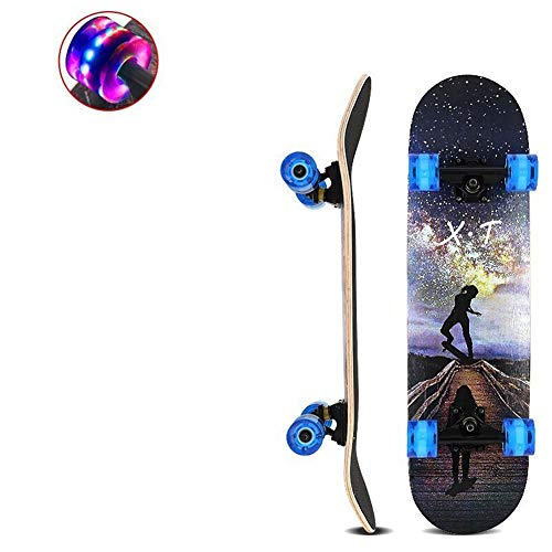 Potato smile Komplett Skateboard-Flash-PU-Rad-Profi Skateboard, das Muster der Exploration Road, 80 * 20 * 13 cm, Adult-Jugendlicher-Kinder Skateboard
