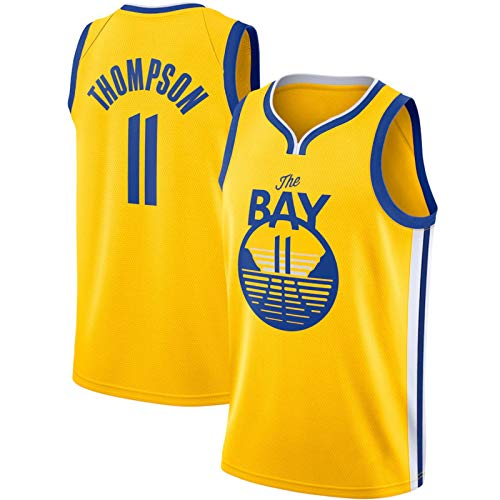 BPZ Jersey de la NBA de los Hombres, Klay Thompson 11# Golden State Warriors Jerseys de Baloncesto, Unisex sin Mangas Bordado Swingman Camiseta Superior,4,XL (180~185CM / 85~95KG)